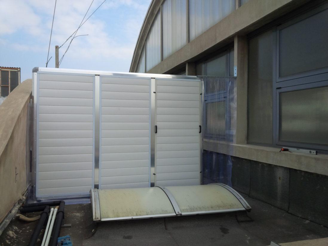 Schermo acustico protezione prese aria, in copertura, con pannelli ecoplas